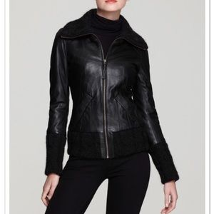 Mackage Domina Leather Bomber Jacket w knit detail